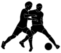 soccer-players-ball-black-white
